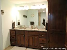 bathroom exciting dark brown double bathroom vanity with cupboard storage and rectangular mirror also twin bathroom lighting ideas 4