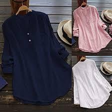 Buy Theshy_Women tops Women Stand Collar Long Sleeve <b>Casual</b> ...