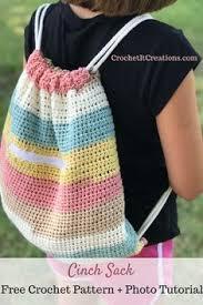 <b>Cinch Sack</b> Drawstring Backpack Crochet Pattern by | Crochet ...