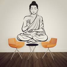 yoga god mandala statue meditation wall sticker home decor mural living room home wall art decoration