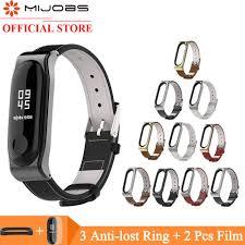<b>Mijobs Mi band 4</b> Wrist Strap Genuine Leather Bracelet For Xiaomi ...