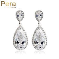 Pera Brand CZ Jewelry <b>Classic Big Water Drop</b> Luxury Cubic ...