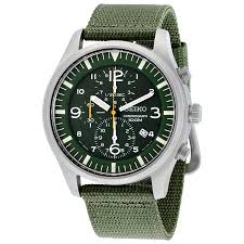 seiko chronograph green dial green nylon strap men s watch snda27