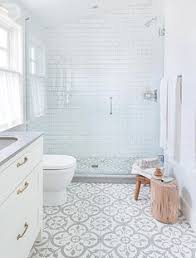 ceramic tile for bathroom floors: not so plain white bathroom with great walk in shower grey ampamp white floor tiles and grey countertop add interest to basic white room