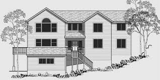 Sloping Lot House Plans  House Plans With Side Garage  Narrow LotHouse front color elevation view for Sloping lot house plans  house plans   side