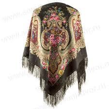 Павлопосадский <b>платок</b> У камина черный купить по лучшей цене ...