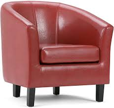Simpli Home Austin 30 inch Wide Transitional <b>Tub Chair</b> in Red ...