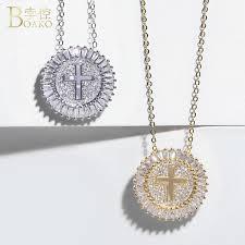 Wholesale <b>BOAKO Crystal Rhinestone</b> Cross <b>Necklace Women</b> ...