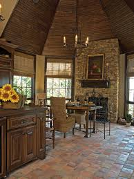 kitchen floor tiles small space:  small kitchen idea with rustic kitchen floor and fireplace