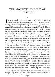 philosophical essays the monistic theory of truth bertrand russell