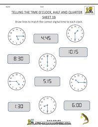 Time Worksheet O'clock, Quarter, and Half past2nd grade math worksheets telling the time oclock half quarter 1b