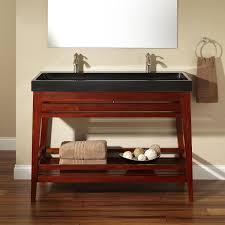 open bathroom vanity cabinet: varnished mahogany trough sink vanity bathroom