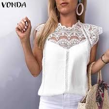 VONDA 2019 <b>Women</b> Office Ladies Blouse Tunic Sexy <b>Sleeveless</b> ...