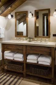 bathroom layout ideas rustic wooden vanity: love love love this rustic vanity in wood with the white towels and the baskets