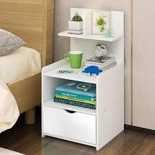 <b>2 PCS</b> Sofa End Side <b>Bedside</b> Table <b>Nightstand</b> Storage Wood ...