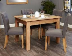 baumhaus mobel oak dining set with 4 flare back grey upholstered chairs baumhaus mobel oak large 6
