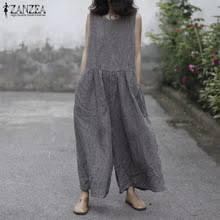 <b>ZANZEA</b> в клетку широкие брюки комбинезон Для <b>женщин</b> ...