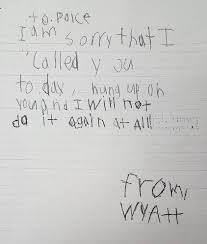 little boy mistakenly calls writes sweet apology letter to photo from eden prairie police department
