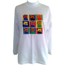 andy warhol inspired pop art tribute warhol s kelly men s  andy warhol inspired pop art tribute warhol s kelly men s 100% white cotton long sleeve t shirt ned kelly n iron outlaw hero legend