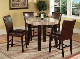 Travertine Dining Room Table Faux Travertine Round Top Modern 5pc Counter Height Dining Set