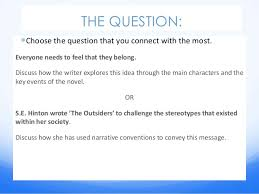 the outsiders essay power point cmyear  english the outsiders essay guide c mcdonnell