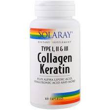 <b>Коллаген</b> и <b>кератин</b>, <b>тип I</b>, II, III, <b>Collagen Keratin</b>, Solaray, 60 ...
