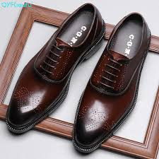 <b>QYFCIOUFU Luxury</b> Mens Genuine Leather <b>Brogue</b> Dress Shoes ...