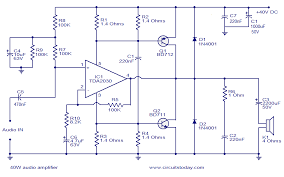 v subwoofer amplifier circuit diagram   watt amplifier     w audio amplifier electronic circuits and diagramelectronics