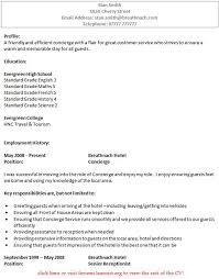 concierge cv example   job seekers forumsrelated topics