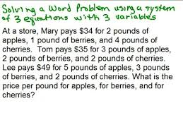 Word Problems Videos for High School Math Algebra Help   Math Help     MathVids System of   equations word problem preview image