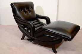 mid century reclining chaise lounge in black leather 3 black leather mid century