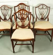 hepplewhite shield dining chairs set: vintage hepplewhite style shield back dining chair set