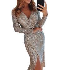 <b>2019</b> New Sexy V neck Women Maxi Dress Silver Bling Sequin ...