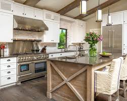 island design ideas designlens extended: rustic modern kitchen design with white washed brick wall rustic island white cabinets and stainless steel collage designs