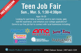 niles library teens on teen job fair sunday high school niles library teens on teen job fair sunday high school recent grads learn about local job opportunities connect w employers including kumon