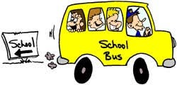 School bus going the opposite direction of the school