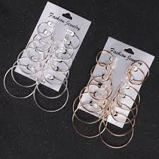 <b>Ani 6pairs set vintage</b> silver gold big circle hoop earrings women ...