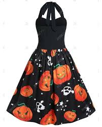 Rosegal Synthetic Plus Size <b>Pumpkin Print Halloween</b> Pin Up Dress ...