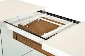 wood extendable dining table walnut modern tables: modrest sven contemporary white amp walnut floating extendable dining table