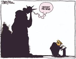 even the statue of liberty has trouble donald trump s latest cartoon image