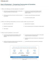 quiz worksheet comparing communism socialism com what s the best explanation of communism