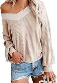 Adreamly Women's <b>V Neck Long Sleeve</b> Waffle Knit Top Off ...