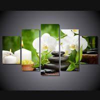 <b>Unframed</b> 5 Panel <b>Modern HD Printed</b> Orchids stone candle ...