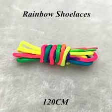 <b>1 Pairs Rainbow Round</b> Rope Canvas Athletic Shoelace Sport ...