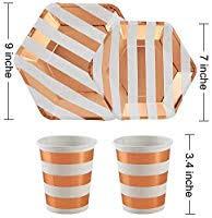 ALINK 150PCS Biodegradable <b>Rose Gold Striped Disposable</b> ...