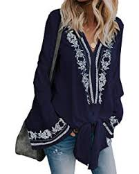 Women <b>Sexy</b> Blouses Chic <b>Floral Embroidered Pattern</b> Long Sleeve ...
