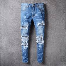 2019 Hot Famous Brand Holes Jeans Men Frayed Whisker Jeans ...