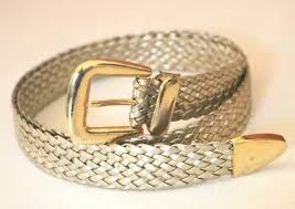 Vintage 70's <b>Braided</b> Gold Metallic <b>Woven Fashion Belt</b> Adjustable ...