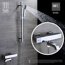 thermostatic brand bathroom: hpb brass thermostatic torneira banheiro bathroom hot and cold water mixer bath shower set faucet hp