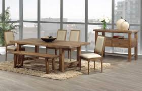 rustic hutch dining room: give star for rustic dining room table set with natural brown color complete with hutch combine